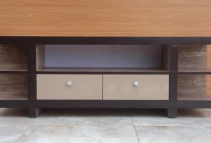Weathered Finish TV Stand Wood Console